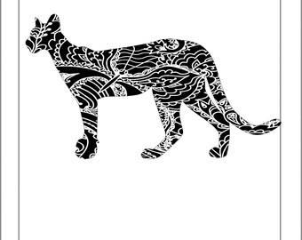 Panther Silhouette - Papercut Template Paper Cut Silhouette Pdf Line Art Cut Files