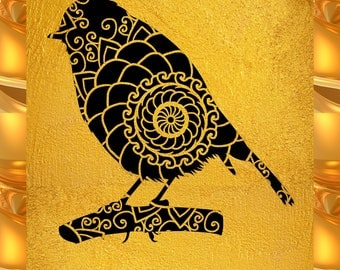 Robin Papercut Template Mandala Henna - Svg Paper Cut Templates Stencil Line Art Pdf Cut Files Digital Clip Art Drawing