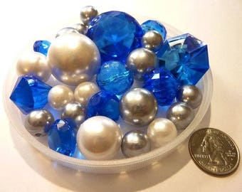 80 Royal Blue Gems, White Pearls and Silver Pearls Vase Fillers in Jumbo & Assorted Sizes for Event Centerpieces