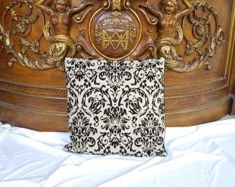 "Pillow cover, 21""x21""linen- black velvet print pillow cover, decor pillow cover, natural linen pillow cover,home decor, home decoration"