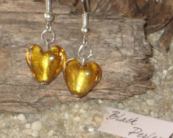 Earrings golden glass little heart