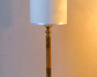 BAMBOO - Table lamp - Bronze, brass, bamboo and fabric - unique Piece.