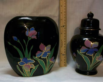 Listing 48 is the set of Japanese hand painted vase with lid and decor vase