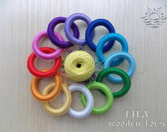 Crochet teething ring Teething toy Natural baby teether Infant toy Safe baby toy Wooden ring Organic teether Crochet teether New baby gift