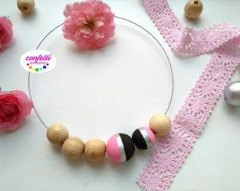 Boho choker Wooden necklace Bib necklace Statement necklace Pastel jewelry Cute necklace Summer necklace Natural wood jewelry Hippie choker