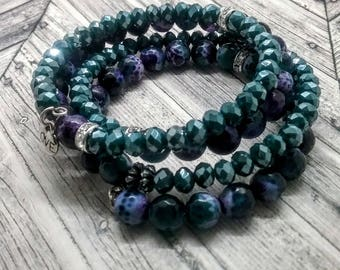 Turquoise and Purple Memory Wire Bracelet