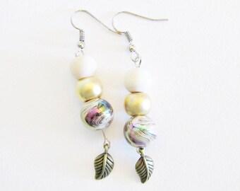 Abella purple wooden earrings