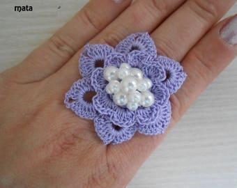 handmade white crochet flower ring