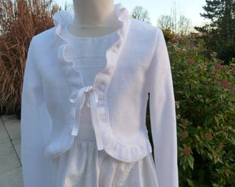 Communion jacket, Bolero, ruffle jacket, wedding, flower girl, girl jacket, fleece jacket, white summer jacket, fixed,