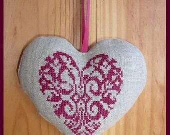 Heart cross stitch hand embroidered linen
