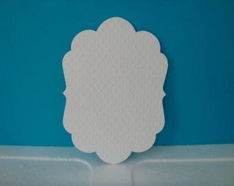 Cut card white embossed with dots background