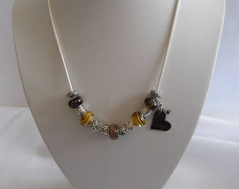Necklace glass beads Pandora Brown and silver, silver plated chain