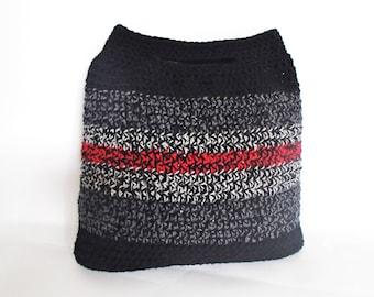 handmade black & red handbag - wool