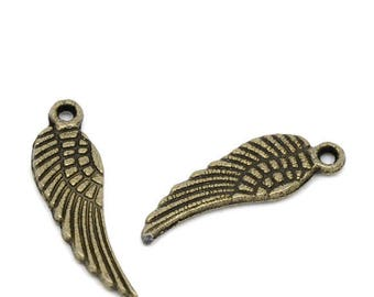 Set of 30 charms wing pendant bronze