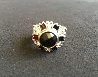 Ring adjustable support nude Crystal rhinestones black enamel mini snap jewelry 5.5 mm button