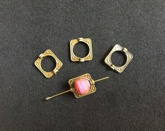 Square 4 spacer beads 10mm bronze metal 1.4 cm maximum