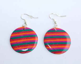 Earrings round Orange stripes