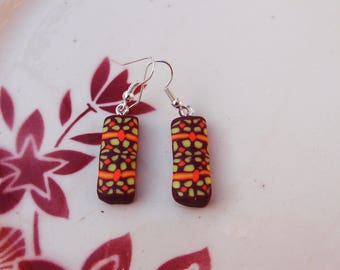 Earrings geometric polymer clay - mosaic spirit