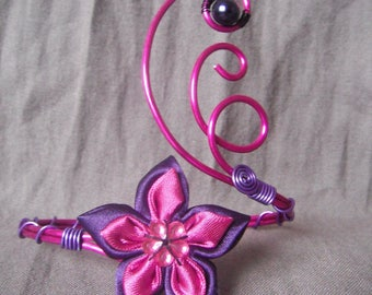 Anklet in fuchsia and purple aluminum wire