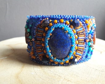 Sapphire blue bead embroidery Cuff Bracelet.
