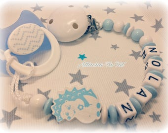 Attach pacifier, pacifier personalized, hedgehog, light blue and white.