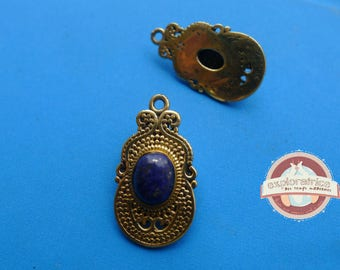 Indian gold ethnic pendant and turquoise 15x27mm