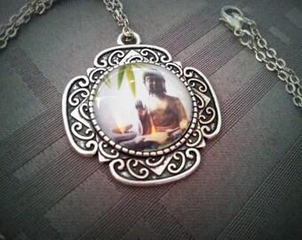 Antique Buddha Zen Buddha, silver pattern 20mm glass cabochon necklace