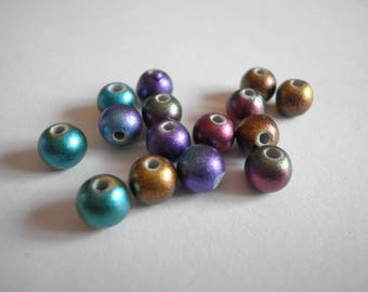 20 Acrylic beads metal 6 mm multicolored effect