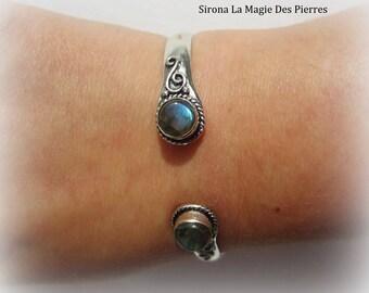 Silver labradorite bracelet