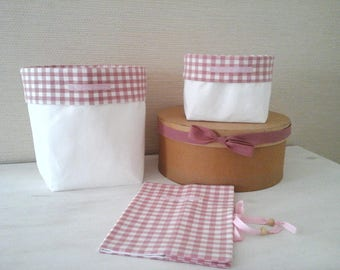 birth Pack consists of two white bags decorated with pink and white gingham and health record