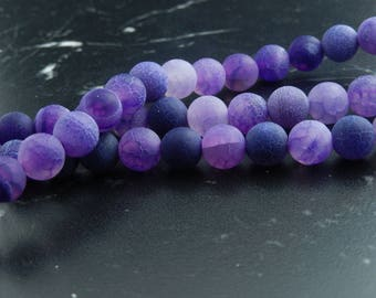 10 purple frosted Agate, 8mm beads