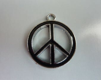 Love peace and peace symbol pendant charm black
