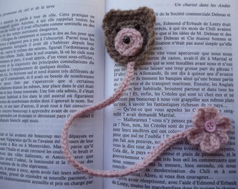 1 bookmark bear and flower crocheted by hand