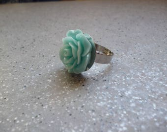 Turquoise flower cabochon Adjustable ring