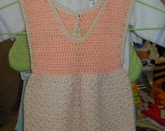 small crochet pinafore dress in wool