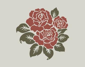 Roses stencil. Floral stencil (ref 526)