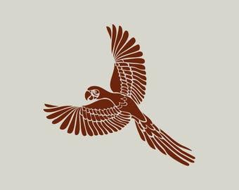 Parrot. Stencil parrot. (Ref 293) adhesive vinyl stencil