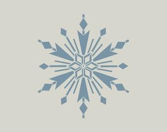 Snowflake stencil. Stenciled Christmas ornament. (ref 557)