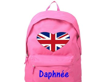 Backpack pink London personalized with name