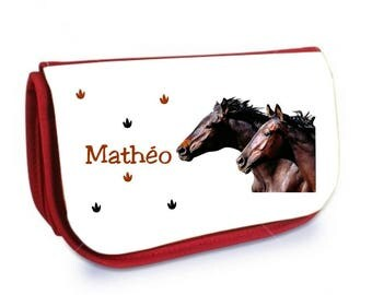 Cosmetic case red /crayons horses personalized with name