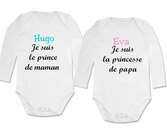 set twin Bodysuit Prince and Princess... personalized with name