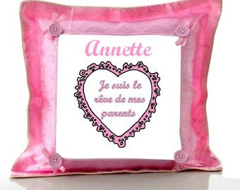 My parents dream pink cushion personalised with name