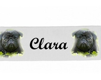 White girl Pug personalized with name banner