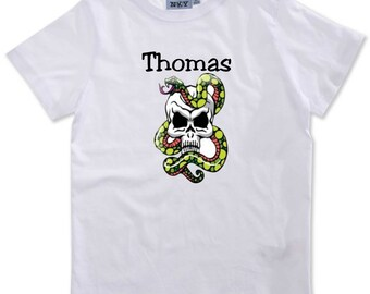 T-shirt boy snake on skull personalized with name