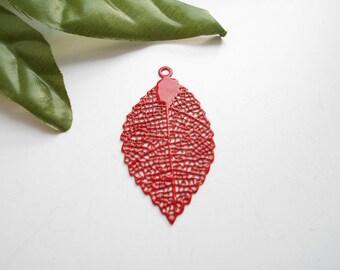 x 2 red enameled leaf prints