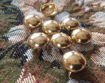 Set of eight antique gold, round studs