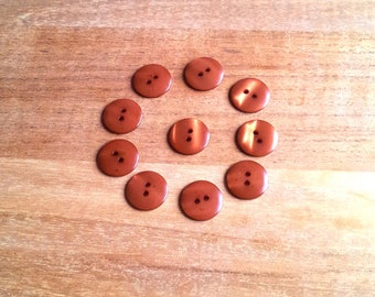 Set of 10 copper buttons T27