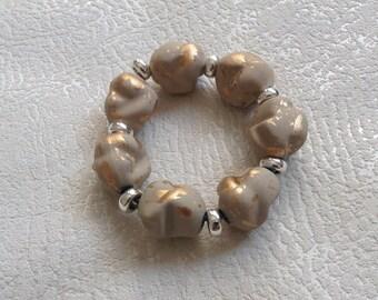 elastic bracelet gold marbled beige resin leopard - KB287 collection