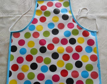 Child apron made waxed canvas - large multicolored dots - adjustable