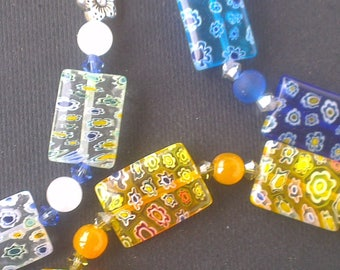Rectangle millefiori beaded Bracelet (3 designs to choose from)